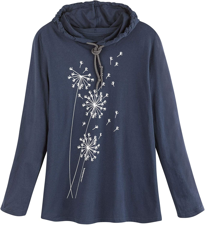 Marushka Handprints Women's Dandelion Puffs Hooded T-Shirt-White Long Sleeve Tee