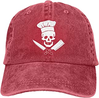 5fa6ec6c Unisex Skull-Chef Cooking Skull Vintage Jeans Adjustable Baseball Cap  Cotton Denim Dad Hat