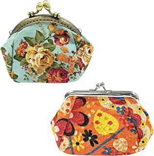 ALLYDREW Vintage Coin Purse Vintage Flower Coin Pouch Floral Wallet Clutch (set of 2)