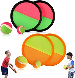Abco Tech Paddle Toss and Catch Game Set - Set of 2 - Hook and Loop Self-Stick - Disc Paddles and Toss Ball Sport Game - 4 Paddles, 2 Large Balls, 2 Small Balls Included - Ages 3 and Up
