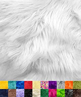 """Barcelonetta   Faux Fur Squares   Shaggy Fur Fabric Cuts, Patches   Craft, Costume, Camera Floor & Decoration (White, 10"""" ..."""