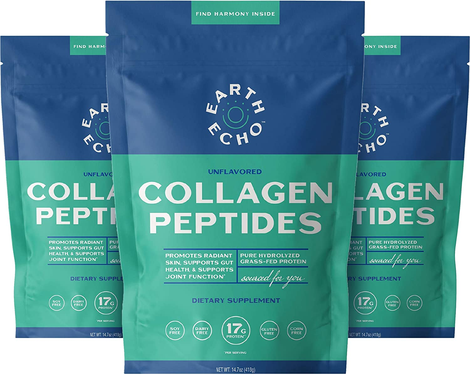 Earth Echo: Collagen Peptides - Protein Powder fo excellence Grass-Fed New product Pure
