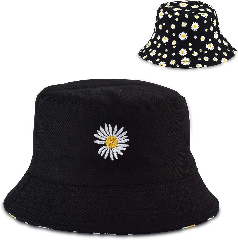 Bucket Hat for Men Women 100% Cotton Double-Sided-Wear Print Travel Packable Summer Beach Sun Fishing Hat Outdoor Cap Unisex