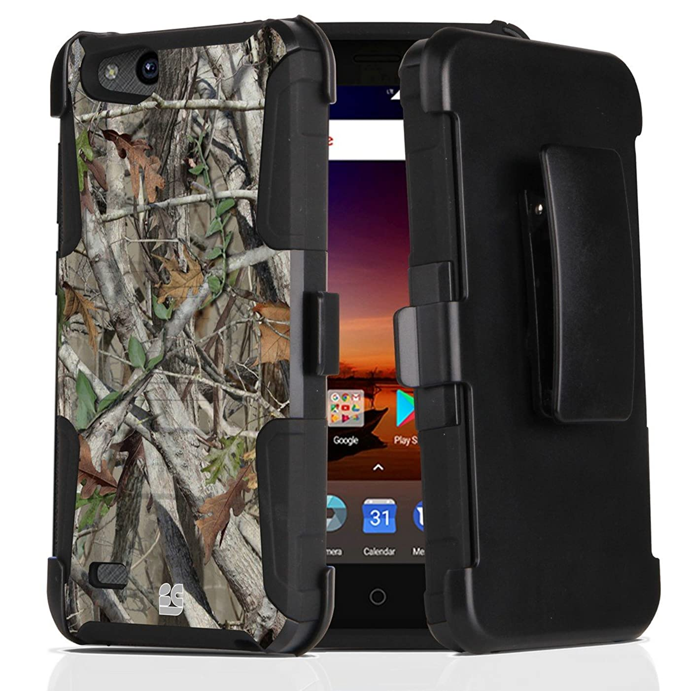 ZTE ZFive C LTE Z558VL Case - Dual Layer [Heavy Duty Protection] Rugged Kickstand Case (Camo) with Rotatable Belt Holster Clip and Atom Cloth for ZTE ZFive C LTE Z558VL