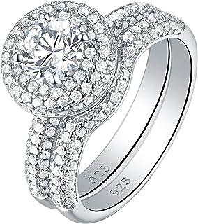 Newshe خواتم الخطوبة الزفاف للنساء 925 الفضة الاسترليني مجموعة الزفاف تشيكوسلوفاكيا 2.8ct حجم 5-10