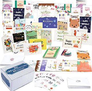 $22 » Birthday Cards, 160 Pack 40 Designs Happy Birthday Card Assorted Bulk with 160 Blank Envelopes 168 Pieces of Stickers 6 Wa...
