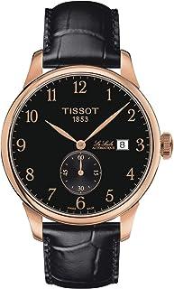 ساعة تيسوت لي لوكال سويسرية أوتوماتيك ستانلس ستيل مع حزام جلدي، اسود، 19 موديل T0064283605200