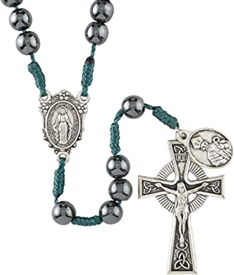 Celtic Rosary with Black Hematite Beads, Irish Inspired Catholic Prayer Bead Strand for Women and Men, Silver Tone Miraculous Medal Center Piece, St Patrick Dangle and Crucifix on 15.5 Inch Emerald Green Cord