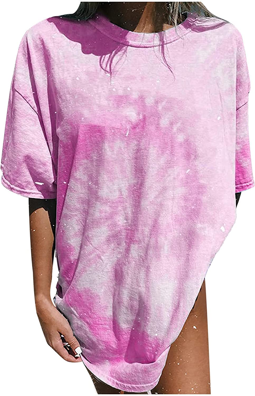 TARIENDY Tie Dye Tops for Women Loose Oversized Blouse Short Sleeve Tshirt Fashion Round Neck Tees