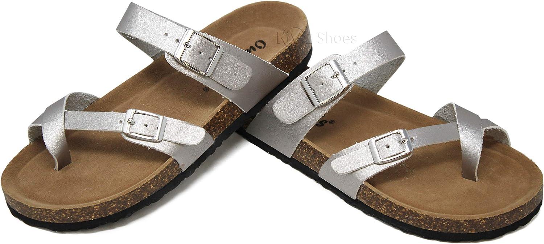 MVE shoes Women's Open Toe Strappy Flat SandalslComfort Summer Cork SlidelFlipFlop