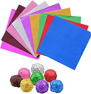 Sakolla 200 Pieces Aluminium Foil Candy Wrappers, 4 x 4 Inch Colour Chocolate Wrappers for Homemade Caramel, DIY Candies, Lolly, 9 Colors