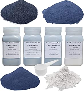 Tonmp Rock Tumbler Refill Grit Media Kit (3 pounds)  4-Steps for Tumbling Stones, Compatible with National Geographic, Thumler, and Lortone Tumblers