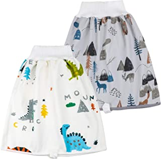 2 Packs Waterproof Diaper Skirt for Potty Training Baby Comfy Cloth Diaper Short for Boys and Girls Night Time