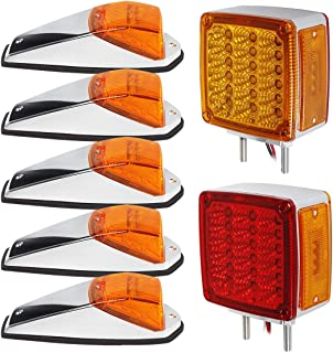 Partsam 5PCS 17LED Cab Marker Amber Top Roof Running Lights + Truck Trailer Square Double Face Pedestal Stop Turn Tail Light 39LED Replacement for Peterbilt/Kenworth/Freightliner/Volvo/Mack