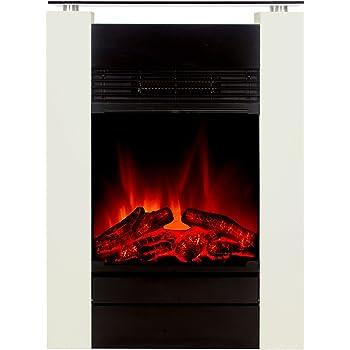 El Fuego Cheminée électrique avec effet flamme plus vrai que nature Modèle Tessin Blanc Classe énergétique B