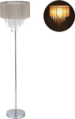 Relaxdays 10029523 Lampe droite cristal, Abat-jour en organza, rond, E27, lampadaire sur pied HxD 151,5 x 38 cm, gris/argent, fer, tissu, plastique, 1 élément