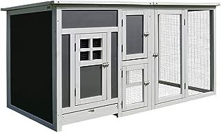 PawHutGallinero Exterior Madera Integrado Run Limpieza Bandeja Casa para Gallinas Jaula para Animales Pequeños Pollo 160x75x80cm