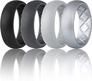 Egnaro Silicone Wedding Ring for Men, Breathable Mens' Rubber Wedding Bands, Size 8 9 10 11 12 13,Classical Style, for Crossfit Workout