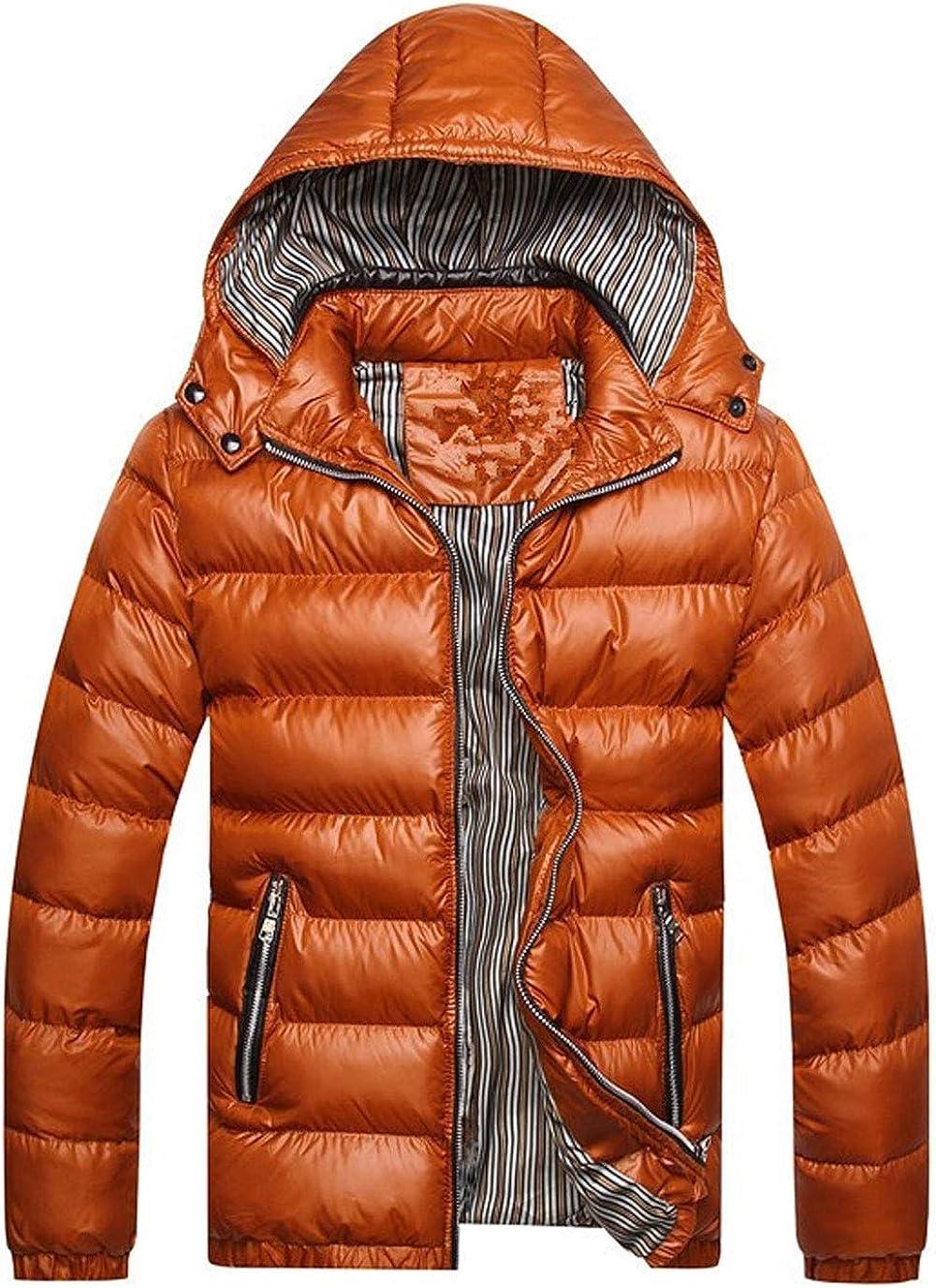 ebossy Men's Removable Hooded Full Zip Down Alternative Waterproof Puffer Jacket