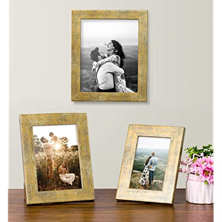 Art Street Designer Gold Table Photo Frame Set of 3 Antique Table Photo Frame (Gold)