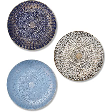 Art Street Multicolored Set of 3 MDF Decorative Wall Plates,Wall Decor Plates for Home & Office Decoration -Size-7.5x7.5 Inches