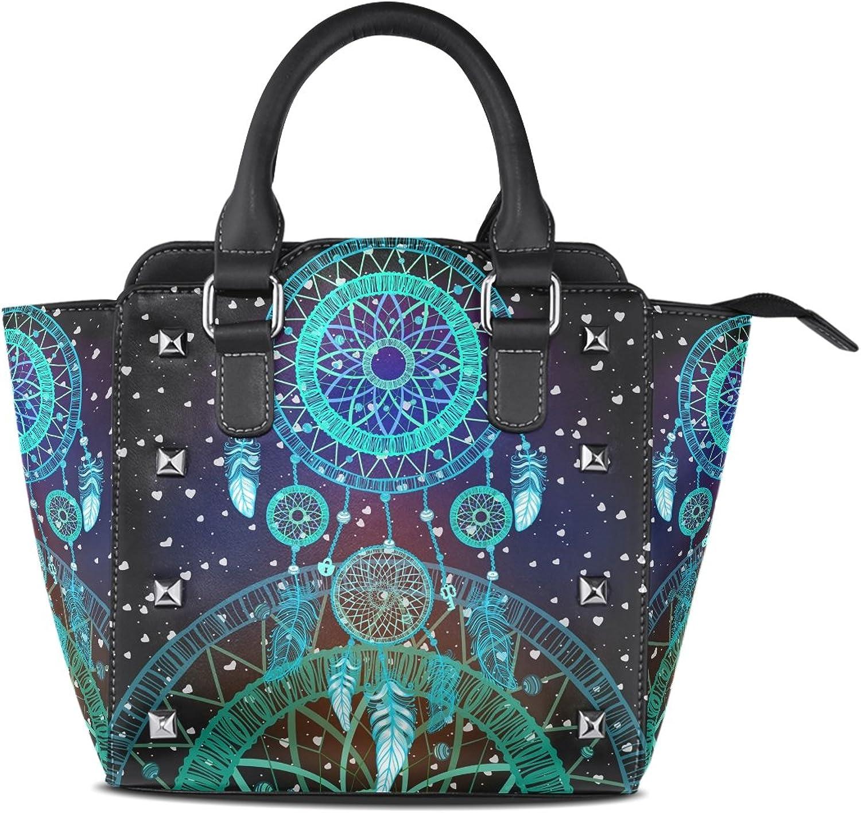 My Little Nest Women's Top Handle Satchel Handbag colorful Dream Catcher Feathers Ladies PU Leather Shoulder Bag Crossbody Bag