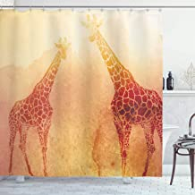 Ambesonne Safari Shower Curtain, Illustration Tropic Giraffes Tallest Neck Animal Mammal in Retro Vintage Print, Cloth Fabric Bathroom Decor Set with Hooks, 84 Long Extra, Orange