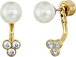 Pearl Tone Crystal and White Pearl Front-Back Stud Earrings