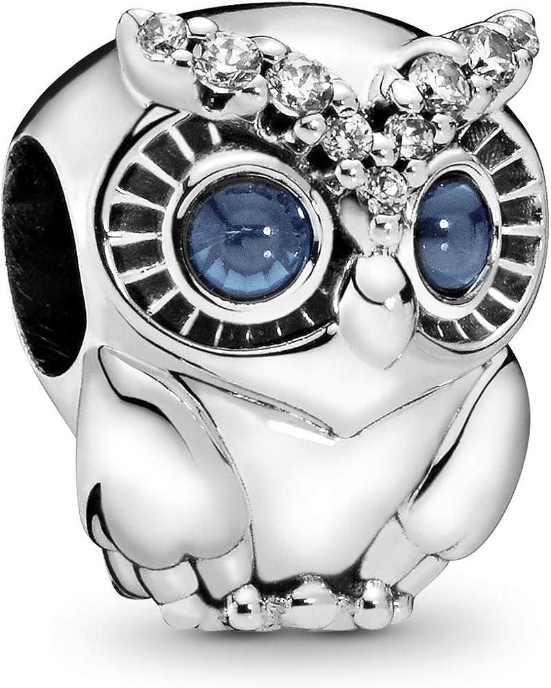 Pandora ciondolo charm gufo scintillante da donna in argento sterling 798397NBCB