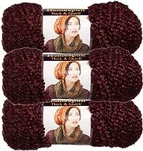 Lion Brand (3 Pack) Homespun Thick & Quick Acrylic & Polyester Soft Garnet Purple Yarn for Knitting Crocheting Super Bulky #6