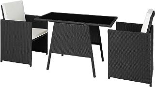 TecTake 800682 - Conjunto de Muebles de Jardín 2+1, Trenzado de Polirratán, Incluye Tornillos de Acero Inoxidable (Negro   No. 403096)