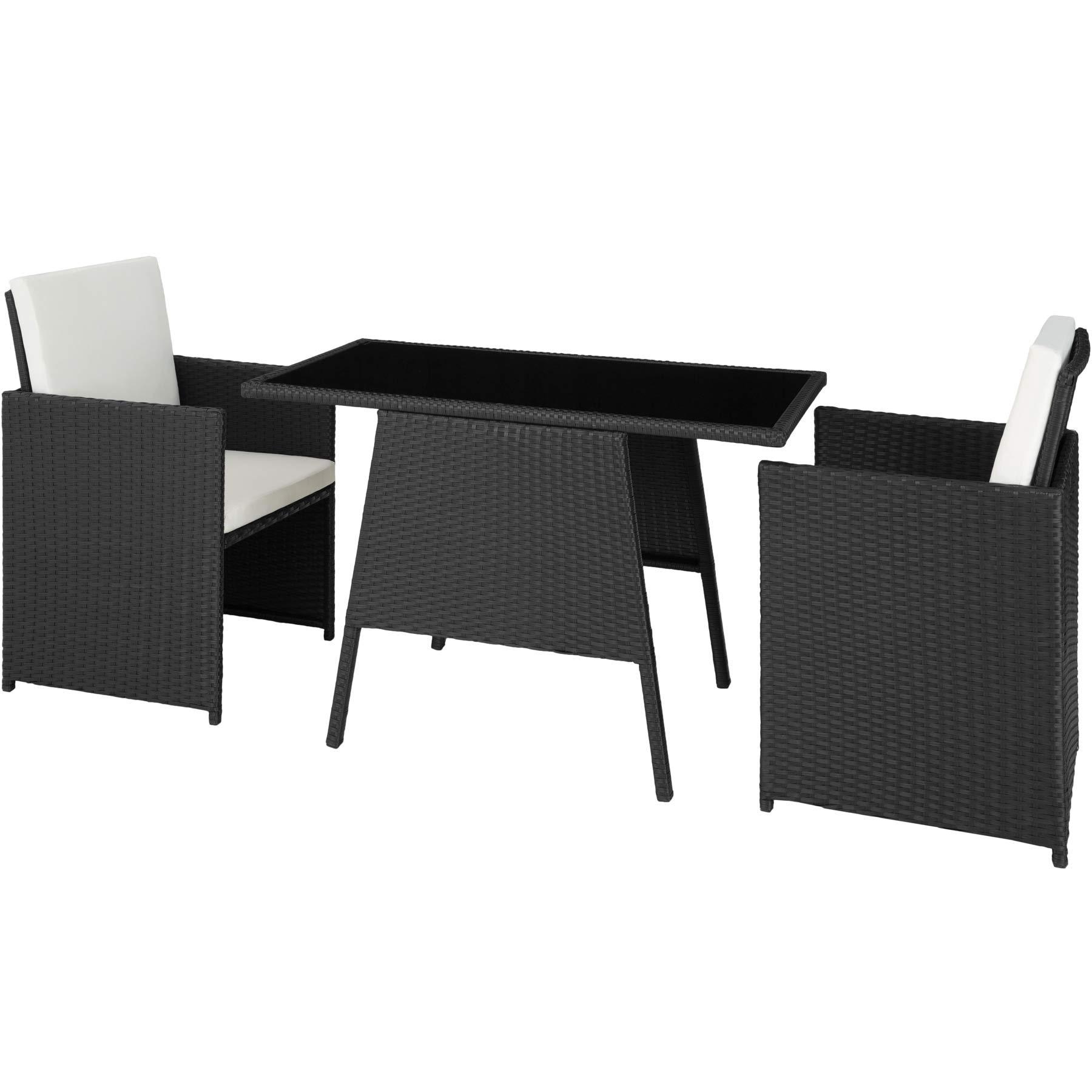 TecTake 800682 - Conjunto de Muebles de Jardín 2+1, Trenzado de Polirratán, Incluye Tornillos de Acero Inoxidable (Negro | No. 403096): Amazon.es: Jardín