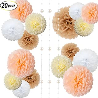 Paper Flowers - Fluffy Tissue Paper Pom Poms - Hanging Flower Ball for Baby Shower Decorations, Wedding Decor, Birthday Party Celebration - 20 Pcs