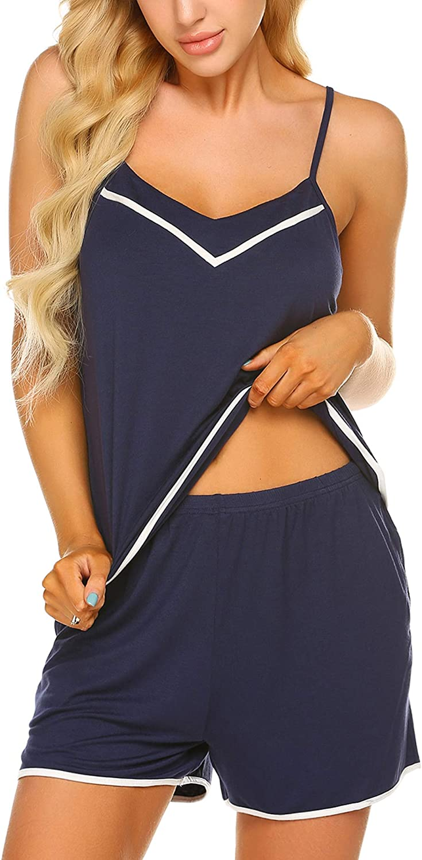 Ekouaer Women's Pajamas Sets Cami and Shorts Pj Set Sexy Sleepwear 2pc Lingerie V-Neck Nightwear with Pockets
