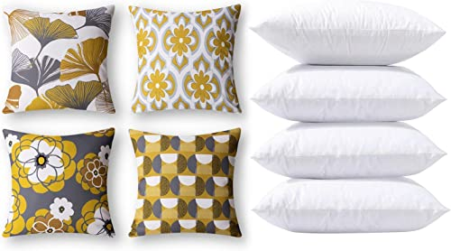 discount Phantoscope Bundles, Set of 4 New Living Series Ginkgo Print Yellow sale and Grey Pillow Covers 18 x 18 inches sale & Set of 4 Pillow Inserts 18 x 18 inches outlet online sale