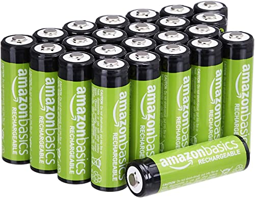 Amazon Basics 24-Pack AA Rechargeable Batteries, 2000mAh, Pre-charged