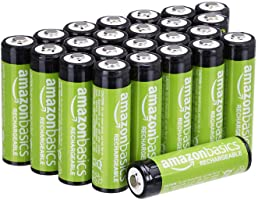 Amazon Basics 24-Pack AA Rechargeable Batteries, Performance 2,000 mAh Battery, Pre-Charged, Recharge up to 1000x