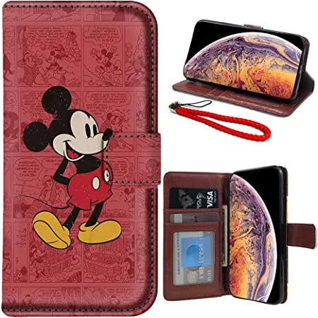 DISNEY COLLECTION Disney Character Mickey Phone Card Holder PU Leather Stick-on ID Credit Card Wallet Phone Case Pouch Sleeve Pocket Wireless Charging for iPhone,Samsung,LG,BLU,Piexl,Moto,Huawei