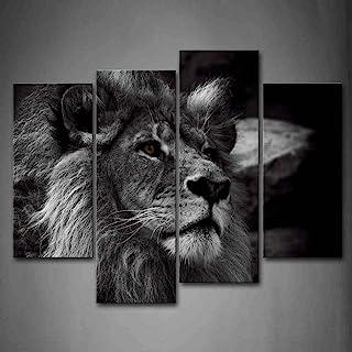 Negro Y Blanco Gris León Cabeza RetratoPintura de la pintura de la pared La impresión de la imagen en la lona Animal Fotos de la Obra para la Decoración Moderna del Ministerio del Interior