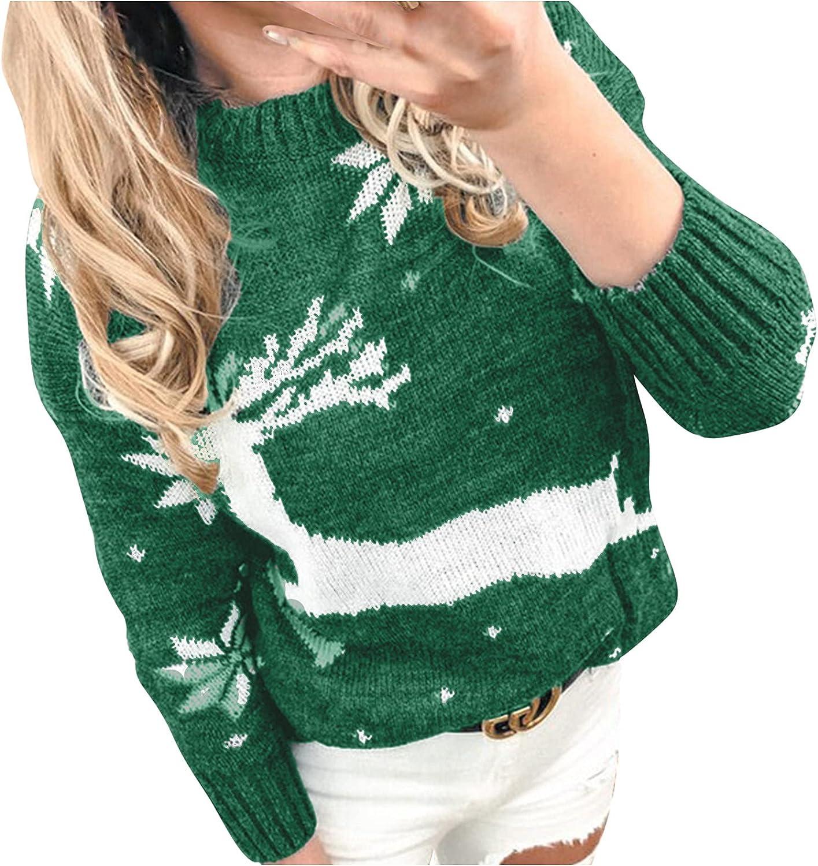 Kanzd Christmas Portland Mall Sweaters gift for Women Fashion Sleeve Long Crewneck