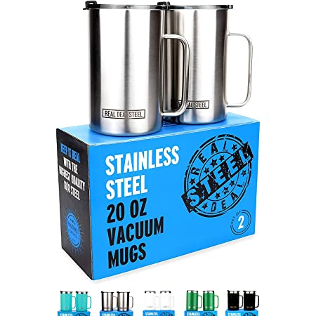 Insulated Mug with Handle and Lid - Stainless Steel Vacuum Coffee Cup, Set of 2, 20 oz - Large Double Wall Coffee or Tea Cup, Thermal Camping Mug Keeps Drinks Hot, Beer Mug That Keeps Beer Cold