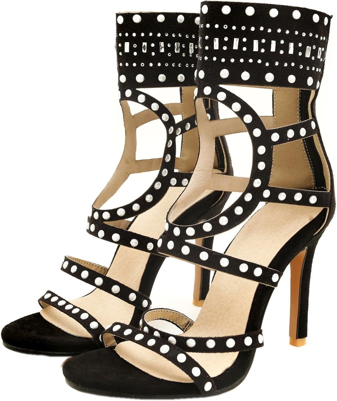 Rongzhi Womens Gladiator High Heels Stilettos Pumps Ankle Wrap Zip Heeled Sandals Prom Dress Open Toe Black