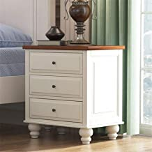 Bedroom Bedside Table Storage Cabinet 3 Drawer Nightstand Cabinet Furniture Wood White for Living Room Sofa