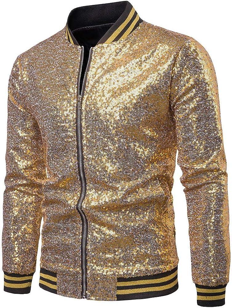 Mens Sequins Nightclub Styles Zip up Varsity Baseball Bomber Jacket