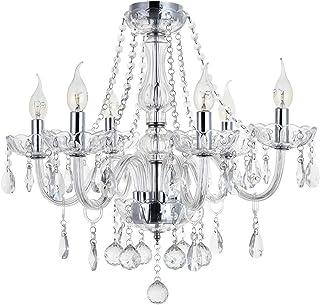 مصابيح الثريا ماريا تيريزا الكريستالية، زجاج شفاف K9 كريستال 6 أرعاع إضاءة LED قلادة لغرفة المعيشة، غرفة الطعام، الرواق، ا...