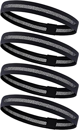 4 Pack Dreamlover Sports Headband, Women's Yoga Hairband, Men's Sweatband for Running, Travel and Fitness, Cutout Non Slip Elastic Sports Headband with Silicone Strips (Black)