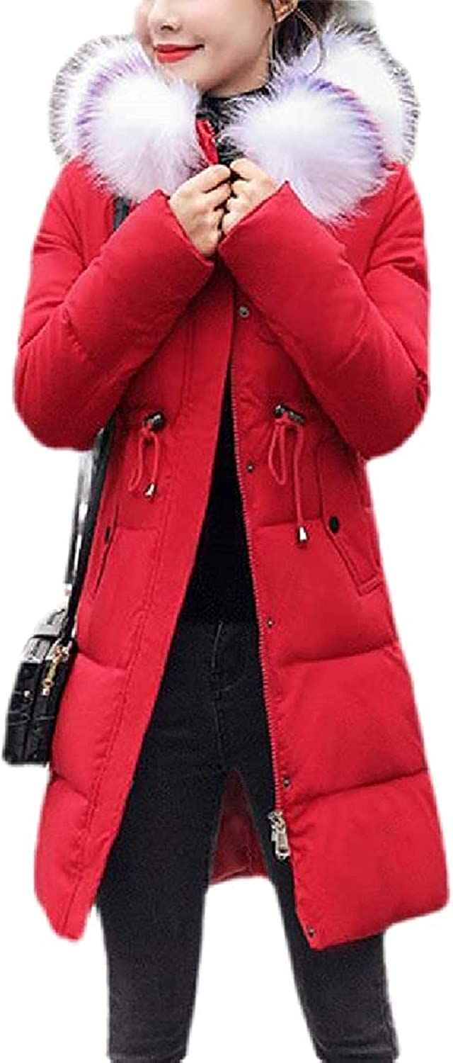 Women Down Outwear Winter Faux Jacket Fur Collar Thicken Quilted Parka Coat