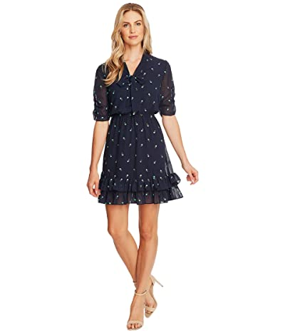 CeCe V-Neck Floral Embroidered Dress with Ruffle Hem (Night Shade) Women