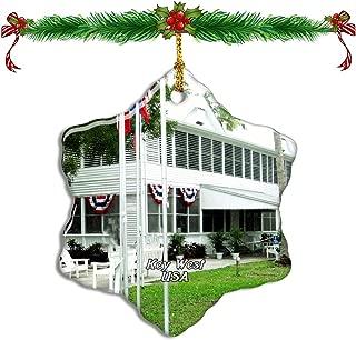 Fcheng USA America Harry S. Truman Little White House Key West Christmas Ceramic Ornament Tree Decor City Travel Souvenir Double Sided Snowflake Sublimation Porcelain Hanging Ornament