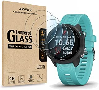 (Pack of 4) Tempered Glass Screen Protector for Garmin Forerunner 245/245 Music, Akwox [0.3mm 2.5D High Definition 9H] Pre...